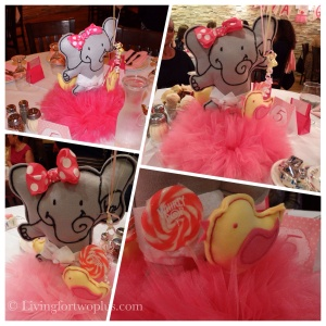 My mom & I brainstormed a little elephant as the theme of the party.  She then designed the cutest girly elephant, which was used for the centerpiece and other elements of the party.  I still can't believe that she drew and sewed everything by hand!